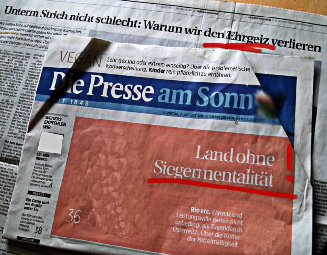 Wenn Die Presse an Realitätsverlust leidet oder ›Warum wir den Ehrgeiz verlieren‹, Olympiade 2016