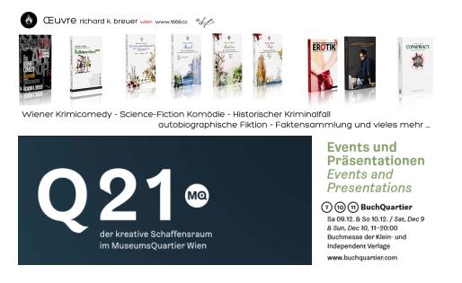 Präsentation meiner Bücher im BuchQuartier (MQ) – 9.12 und 10.12.